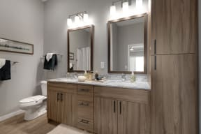 Brightly lit vanity space at Nuvelo at Parkside Apartments