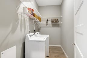 Walk in laundry at Nuvelo at Parkside Apartments