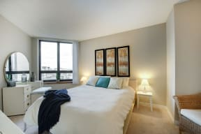 Galtier Towers Apartments in Lowertown, St. Paul, MN Bright Bedroom