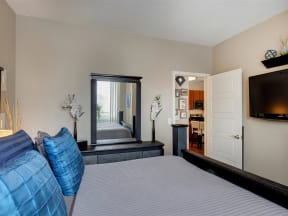 Be @ The Calhoun Greenway Large Apartment Bedroom with Doorway to Kitchen