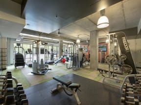 Be @ The Calhoun Greenway Large Fitness Center with Weight Machines and Dumbbells