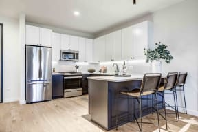 Fully Furnished Kitchen With Stainless Steel Appliances at North+Vine, Chicago, Illinois