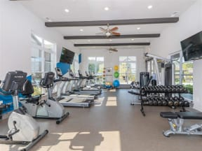 Fitness Center with Cardio and Strength Training Machines at One White Oak, Cumming, GA