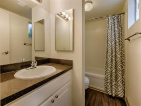 New Custom Designer Cabinetry and Countertops in Baths at Fountain Plaza Apartments, AZ, 85712