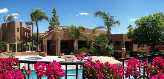 Exterior and pool of La Lomita Apartments in Tucson Arizona 2021