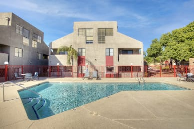 Pool and pool patio at Nine90 Apartments in Tucson AZ November 2020