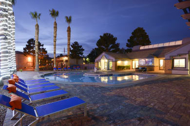 Glimmering Pool At Night, at The Bristol at Sunset, Nevada, 89014