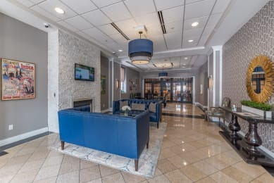 Stunning expansive building entrance lobby.