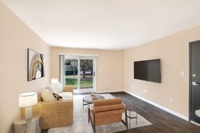 Living room with patio door entrance