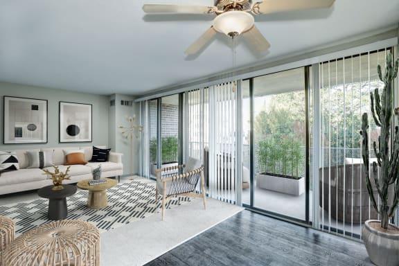 Living room and balcony terrace