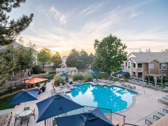 Aerial View Of Pool at The Bluffs at Highlands Ranch, Highlands Ranch, CO