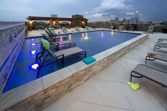 The Edge at Midtown Rooftop Sun tanning area and pool