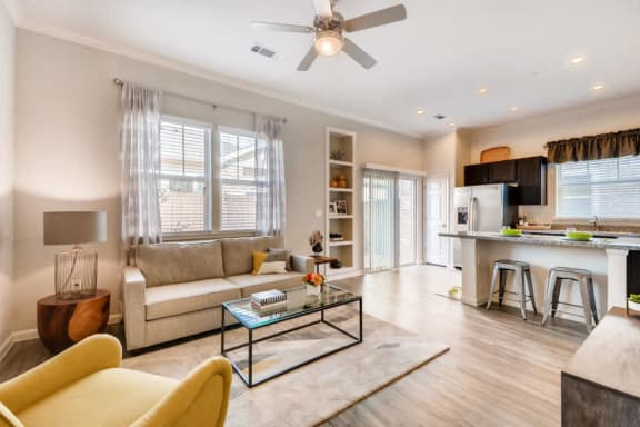 Living Room With Kitchen View  at Avilla Northside, McKinney, TX, 75071