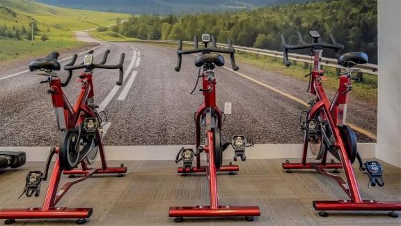 fitness center spinning bikes