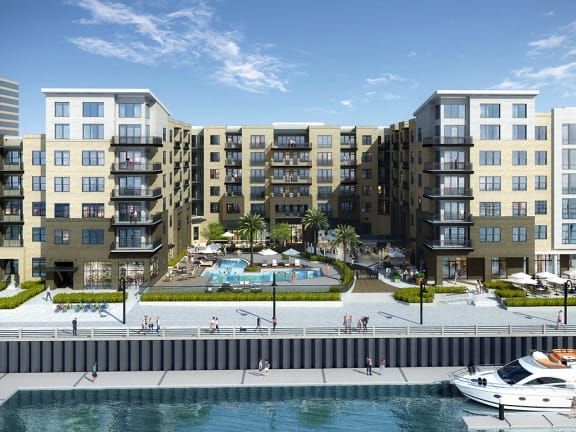 Pier 33 exterior with pool and waterfront in Wilmington NC