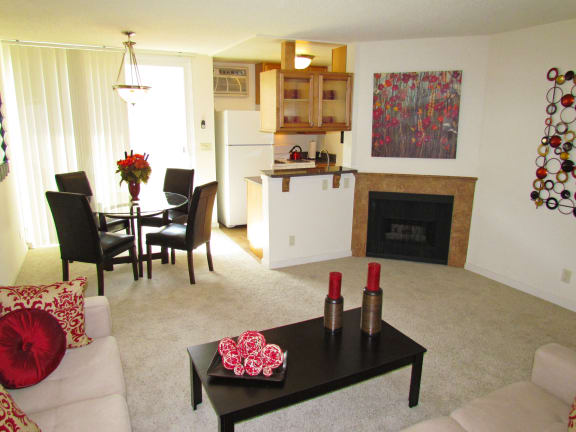 Clarington Apartments furnished living room reverse view