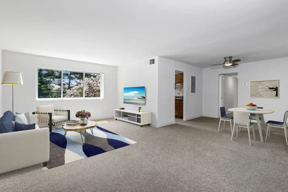 Spacious Living and Dining room at Overlook Apartments in Hyattsville MD