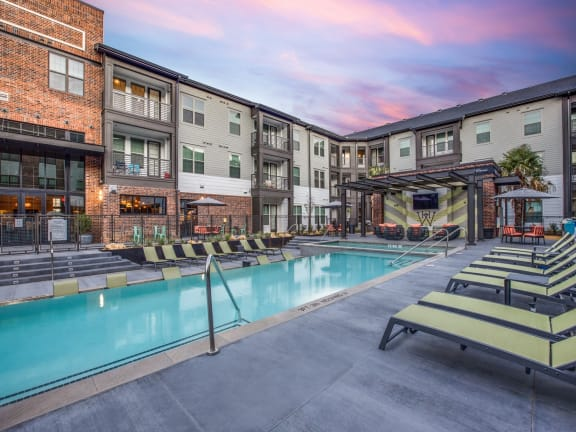 Vibrant pool with spacious pool deck at The Westhouse, Ft. Worth, TX 76244