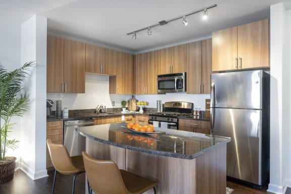 kitchen with island, counter seating, stainless steel appliances and granite countertops - luxury arlington ma apartments