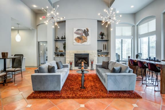 Living Room Remodel With Fireplace at Mariposa Villas Apartments, Dallas