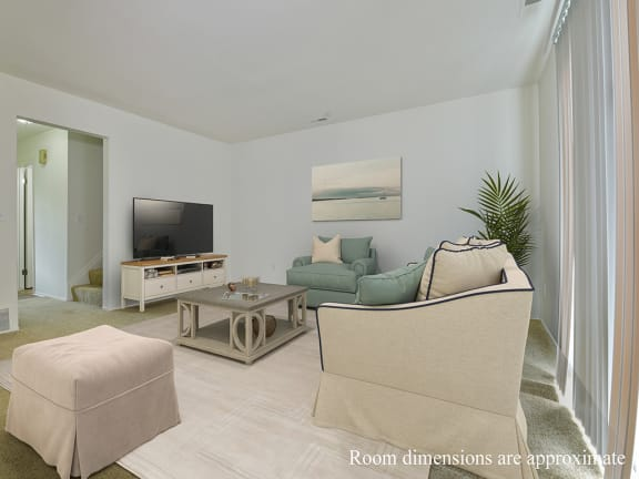 Living Room With Television at Shannon Manor Townhomes, Davison