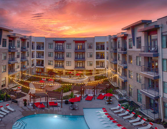 Beautiful Sunset View of Resort Style Pool At Avant Apartments, 12890 Old Meridian Street, Carmel, IN, 46032