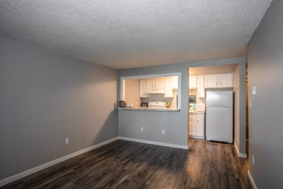 Broadmoor Apartments living room and kiitchen