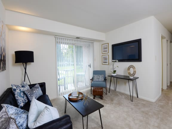 Spacious Living Room With Private Balcony at Woodsdale Apartments, Abingdon, MD