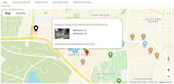 Local_Map at Rancho Franciscan Senior Apartments, Santa Barbara, 93105