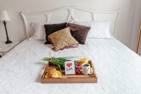 Breakfast in Bed at Cypress Meadows Senior Apartments, California