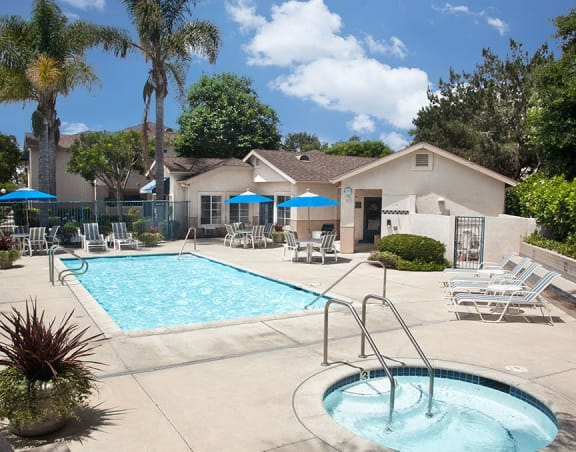 Swimming Pool and Spa at Cypress Meadows Senior Apartments, Ventura