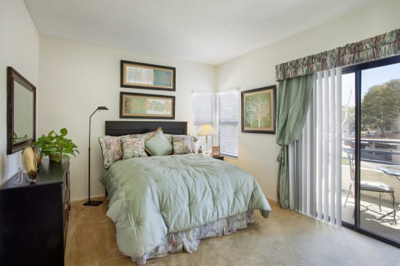 Bedroom with hard wood floors at Cypress Point, Ventura
