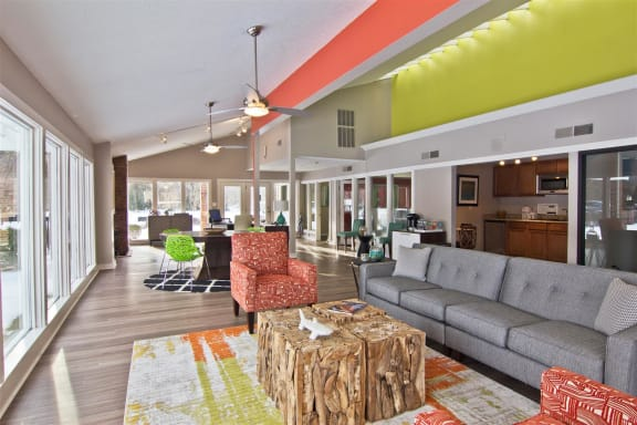 Community room at The Grove at Lyndon Apartments in Louisville