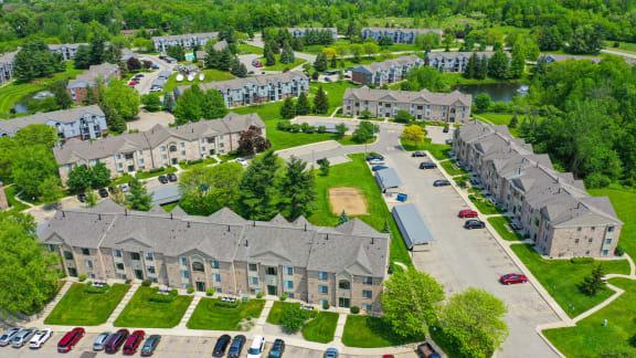 Aerial View of Green Ridge Apartments, Grand Rapids, MI 49544