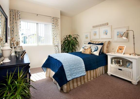 apartment bedroom at Sumida Gardens Apartments, Santa Barbara, 93111