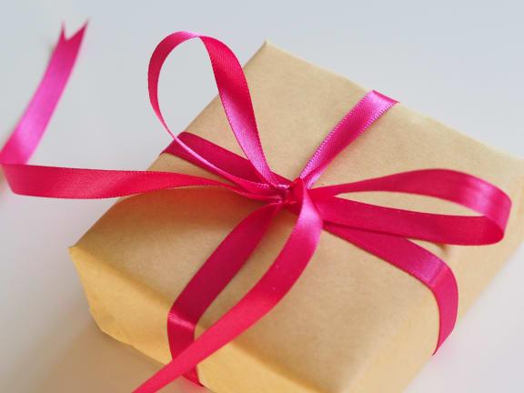 cardboard gift box at Sumida Gardens Apartments, Santa Barbara, CA