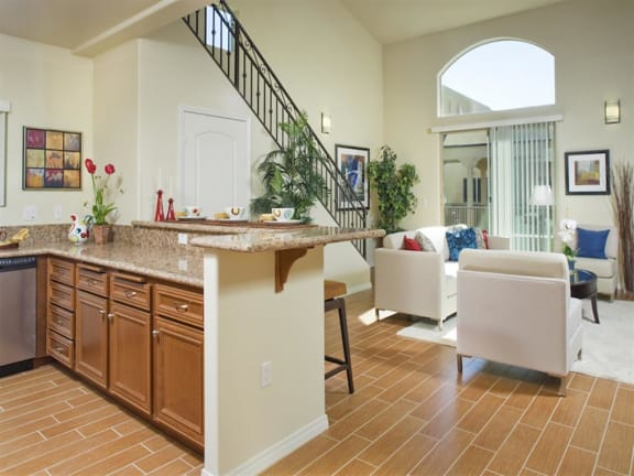 Spacious Living Room With Plank Flooring at The Verandas, California, 91304