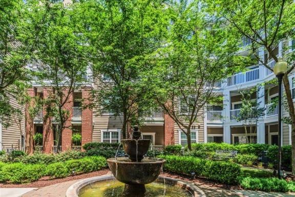 Zen garden at Rose Heights Apartments, Raleigh, NC