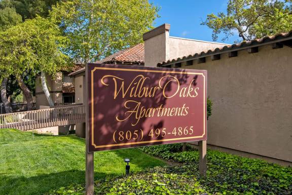 Welcoming Property Sign at Wilbur Oaks Apartments, California