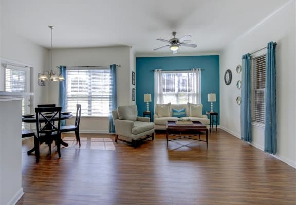 Living Room with Dining Room at Ethan Pointe Apartments, North Carolina