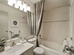interior view of bathroom at apartment in englewood co