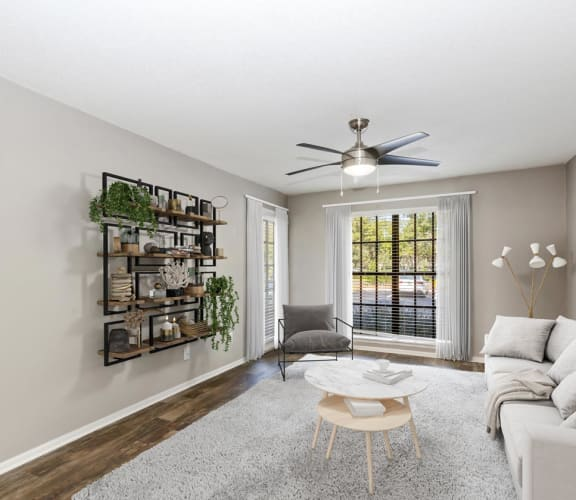 Model living room l at Carrollwood Station Apartments