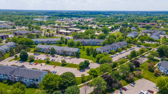 Beautiful Aerial View of Trappers Cove Apartments, Lansing, Michigan