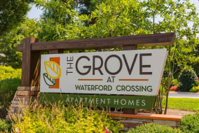 Entrance sign of Grove at Waterford Crossing