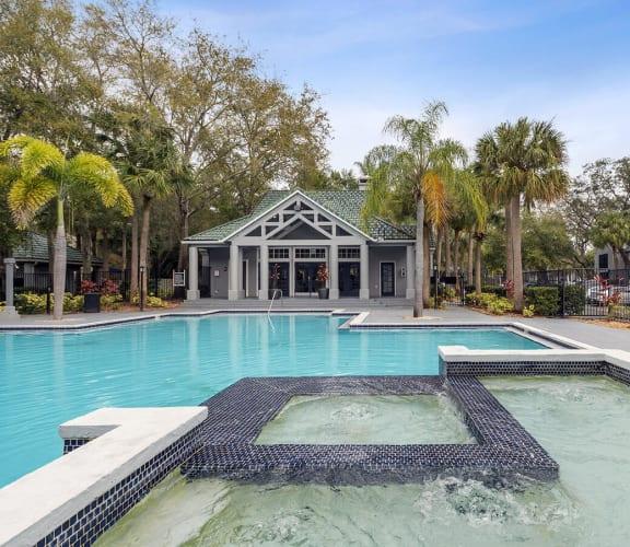 In-pool spa at Radius Palms in Tampa, FL