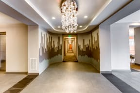 Stylish hallway at 2828 Zuni Apartments in LoHi