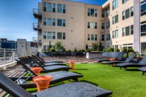 Sun Deck with Denver Skyline Views at 2828 Zuni Apartments