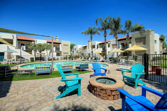 Pool Side Relaxing Area With Firepit at Elevate at Discovery Park, 1820 East Bell De Mar Drive