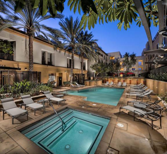 Resort Style Pool & Spa at Trio Apartments in Pasadena, CA
