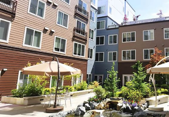 Garden exterior for Cedar Park Apartments in North Seattle, WA